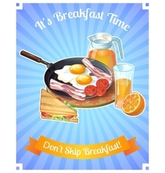 Colored breakfast poster vector