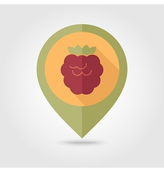 Raspberry flat pin map icon berry fruit vector