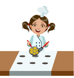 Girl frying nuggets on electric stove cute kid in vector