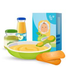 Healthy breakfast for baby with porridge and vector