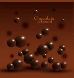 Dark chocolate balls on abstract background vector