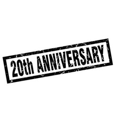 Square grunge black 20th anniversary stamp vector