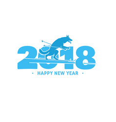 2018 happy new year greeting card vector image vector image