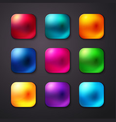 Set of realistic and colorful mobile app buttons vector