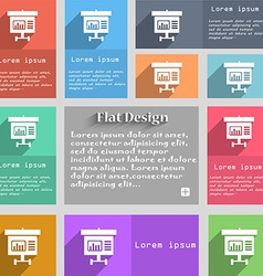 Graph icon sign set of multicolored buttons metro vector