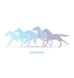 5 horses running vector