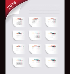 Calendar 2016 new year paper banner template vector