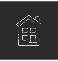 Two storey detached house icon drawn in chalk vector