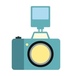 Camera with flash flat icon vector