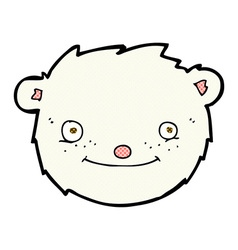 Comic cartoon polar bear head vector
