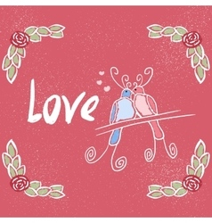Love greeting card with hand lettering vector