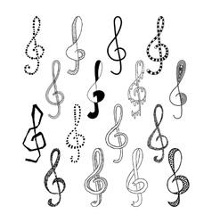 Doodle set of black treble clef vector