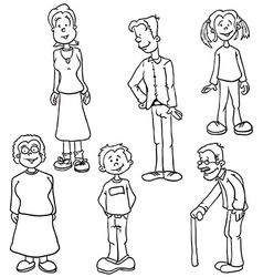 Simple black and white family set vector