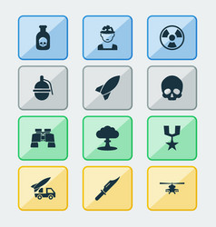 army icons set collection of chopper bombshell vector image