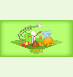 baseball horizontal banner cartoon style vector image
