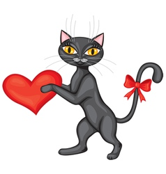 Black cat gives his heart vector image