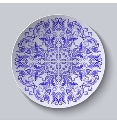 Circular plate with blue ethnic ornament vector image