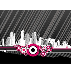 City with pink circles vector image vector image