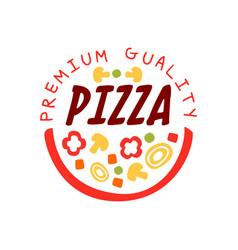 creative flat pizzeria logo design with vector image vector image