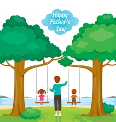 Father care kids sitting on swing vector