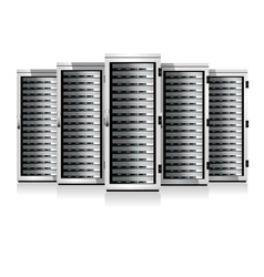 Five Servers White in Cabinets vector image