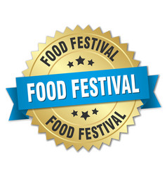 Food festival round isolated gold badge vector