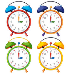 four alarm clocks with different time vector image vector image