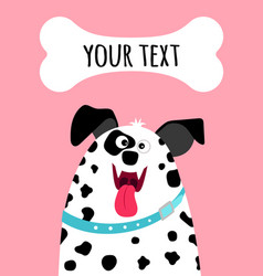 Greeting card with dalmatian dog face vector