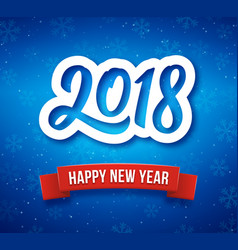 Happy new year 2018 greeting card with paper cut vector