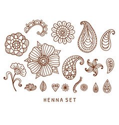 henna tattoo doodles set vector image