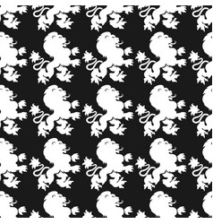 Heraldic seamless pattern with lion silhouette vector