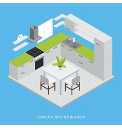 Kitchen Interior Isometric Design vector image vector image