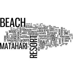 Matahari beach resort spa bali text background vector