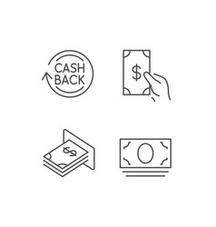 Money cashback and atm line icons vector