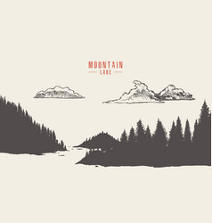Mountain lake pine forest style hand drawn vector