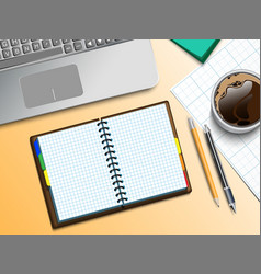 notebooke computer and cup of coffee vector image