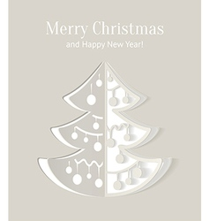 Paper cut-out christmas tree with smooth shadows vector image