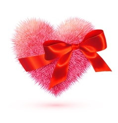 Pink fluffy heart with red bow vector image