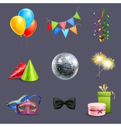 Realistic Celebration Icons vector image vector image