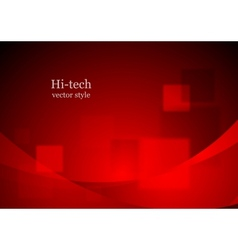 Red tech wavy background vector image vector image