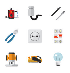 set of 9 editable electrical flat icons includes vector image