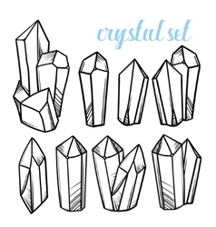 Set of magic crystals icons of mineral vector