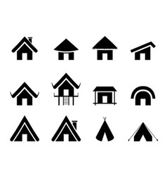 set of traditional home icon in minimal vector image vector image