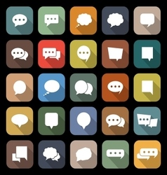 Speech bubble flat icons with long shadow vector