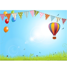 Spring landscape with air balloon and bunting vector