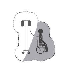 sticker monochrome pictogram person hospitalized vector image