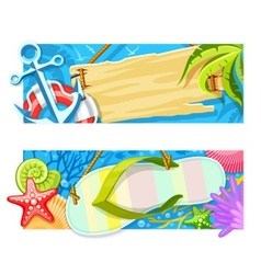 Summer sea beach rest banners vector