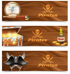 Three horizontal pirate banners vector