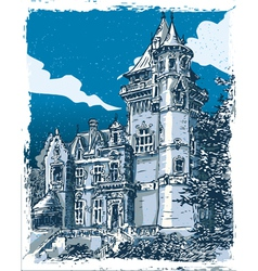 Vintage Hand Drawn View of Old Castle in Belgium vector image