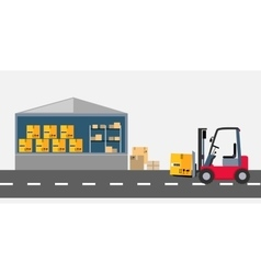 Warehouse and stackers flat design vector